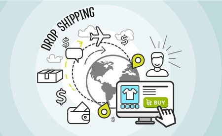 drop shipping. dropship business, box cardboard, distribution package, service web, pack delivery, cargo and buy, internet sale technology illustration.
