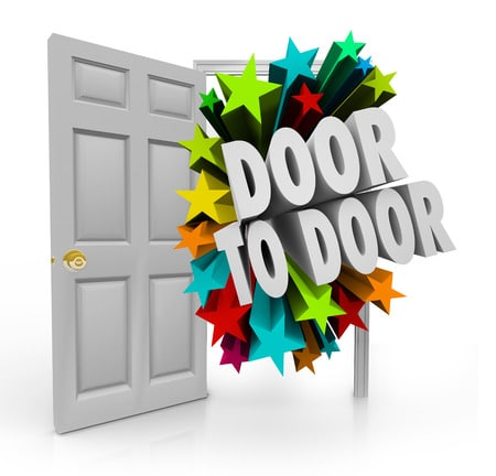32782758 - door to door 3d words bursting through an open doorway to illustrate sales techniques in soliciting for new prospects, clients and customers