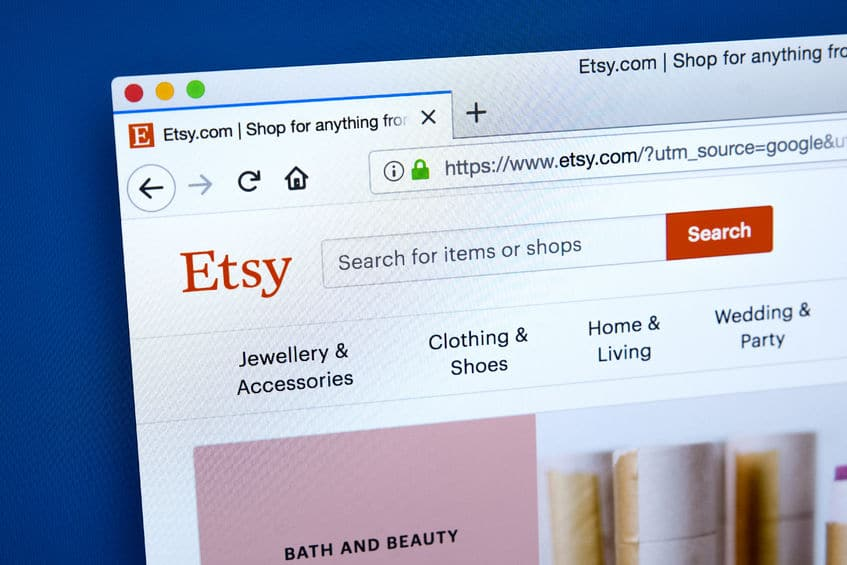 96811185 - london, uk - january 10th 2018: the homepage of the official website for etsy - the e-commerce website focussed on unique handmade or vintage items, on 10th january 2018.