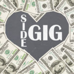 84210050 - love making money with your side gig, one hundred dollar bill in the shape of a heart with chalkboard text side gig